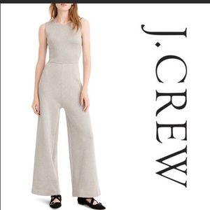 $188 J. Crew silver lurex wide leg jumpsuit Small